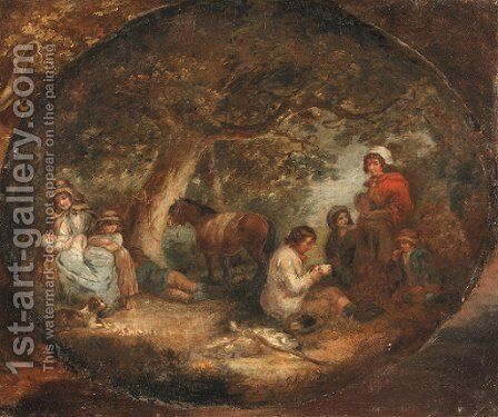 Travellers resting in a wooded landscape, in a painted oval by (after) George Morland - Reproduction Oil Painting