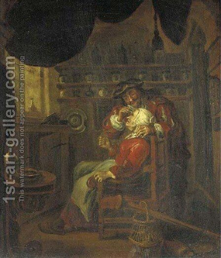 A doctor and patient in a surgery by (after) Gerard Ter Borch - Reproduction Oil Painting