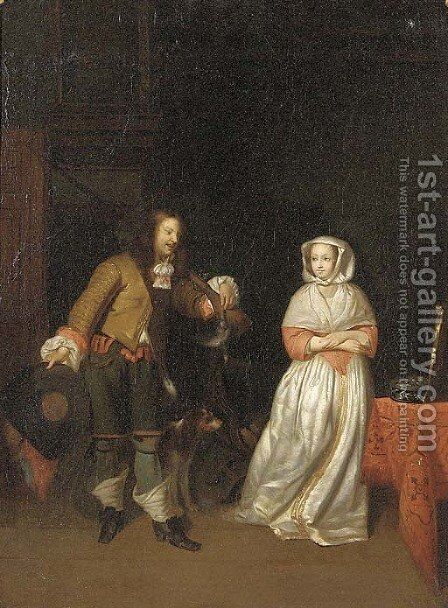 A huntsman with an elegant lady in an interior by (after) Gerard Terborch - Reproduction Oil Painting