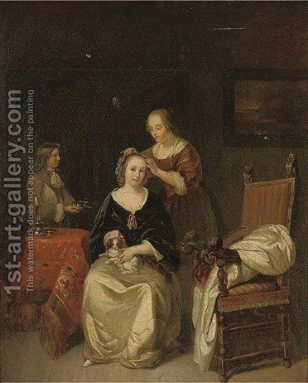 An elegant lady seated at her table with a dog on her lap, a maid tying ribbons in her hair by (after) Gerard Terborch - Reproduction Oil Painting