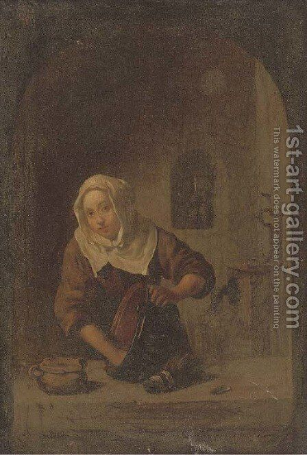 A lady washing at a casement by (after) Gerrit Dou - Reproduction Oil Painting