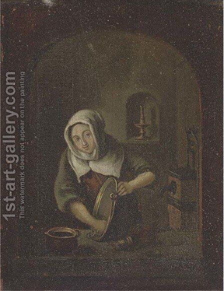 A washerwoman at a casement by (after) Gerrit Dou - Reproduction Oil Painting