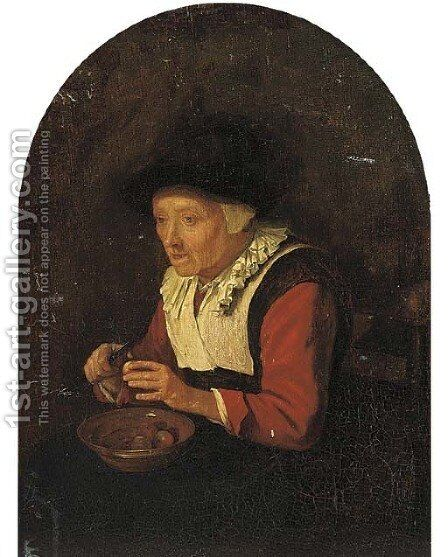 An old woman, sitting on a chair and peeling fruit by (after) Gerrit Dou - Reproduction Oil Painting