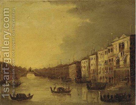 A capriccio of a Venetian canal by (after) Giacomo Guardi - Reproduction Oil Painting