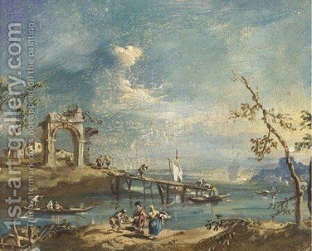 Capricci of islands on the Laguna with classical ruins and figures by (after) Giacomo Guardi - Reproduction Oil Painting