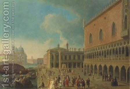The Doge's Palace and the Piazzetta di San Marco, Venice, with the entrance to the Grand Canal and Santa Maria della Salute by (Giovanni Antonio Canal) Canaletto - Reproduction Oil Painting