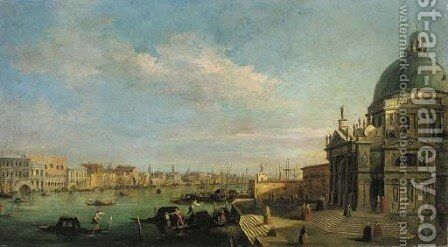 The entrance to the Grand Canal, looking east from the Salute towards the Bacino di San Marco, the Doge's Palace and Riva degli Schiavoni beyond by (Giovanni Antonio Canal) Canaletto - Reproduction Oil Painting