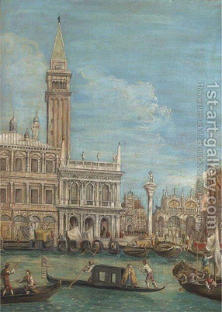 The Piazzetta, Venice, from the Bacino di San Marco by (Giovanni Antonio Canal) Canaletto - Reproduction Oil Painting