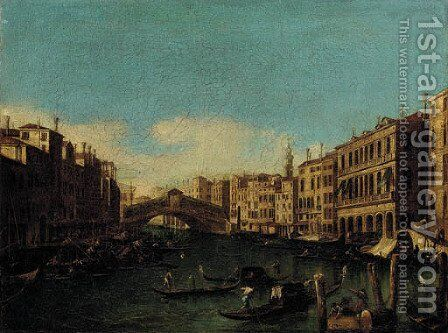 The Rialto Bridge, looking east from Palazzo Loredan by (Giovanni Antonio Canal) Canaletto - Reproduction Oil Painting