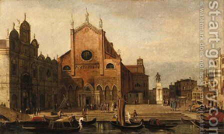 Views of Venice SS. Giovanni e Paolo and the Monument to Bartolommeo Colleoni seen from across the Rio dei Mendicanti by (Giovanni Antonio Canal) Canaletto - Reproduction Oil Painting