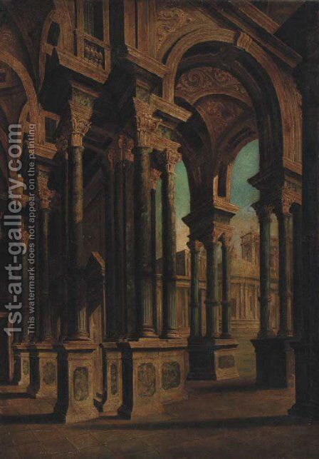 A Capriccio of an arcaded loggia by (after) Giovanni Ghisolfi - Reproduction Oil Painting
