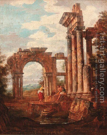 Capricci of Roman ruins with soldiers and travellers resting by (after) Giovanni Paolo Panini - Reproduction Oil Painting