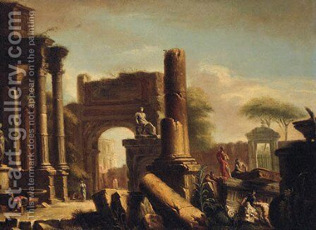 Figures amongst classical ruins 2 by (after) Giovanni Paolo Panini - Reproduction Oil Painting