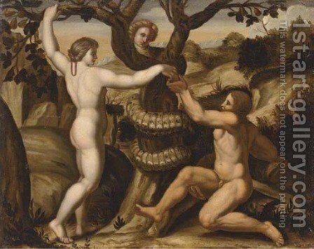 The Temptation of Adam and Eve by Giulio Romano (Orbetto) - Reproduction Oil Painting