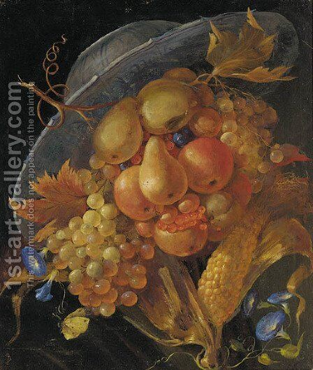 An anthropomorphic portrait of a man composed of apples, pears, grapes and corn on the cob by (after) Giuseppe Arcimboldo - Reproduction Oil Painting