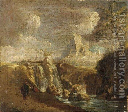 A rocky landscape with a waterfall and figures near a bridge by (after) Giuseppe Zais - Reproduction Oil Painting