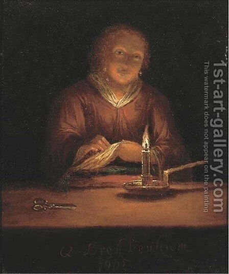 A lady sewing by candlelight 2 by (after) Godfried Schalcken - Reproduction Oil Painting