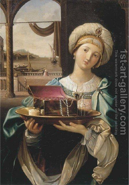 A lady holding a silver plate with a jewellery box, a harbour in the distance by (after) Guido Reni - Reproduction Oil Painting