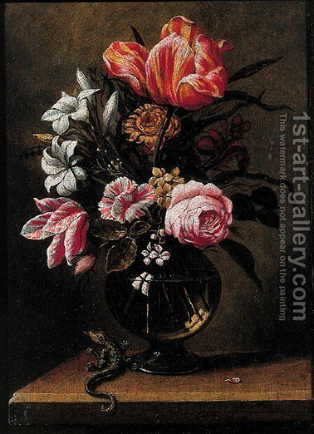 Tulips, roses, carnations and other flowers in a glass vase by (after) Hans Bolongier - Reproduction Oil Painting