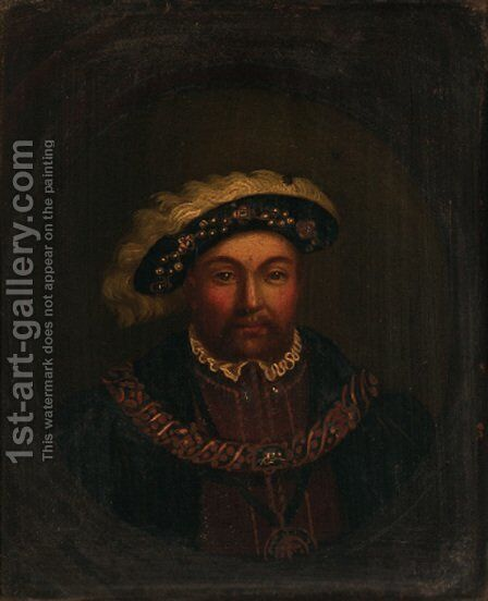 Portrait of Henry VIII (1491-1547) by (after) Hans, The Elder Holbein - Reproduction Oil Painting