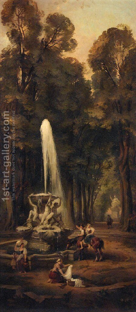 Washerwomen by a fountain in a garden by (after) Hubert Robert - Reproduction Oil Painting