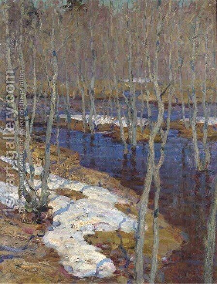 The thaw by Isaak Ilyich Levitan - Reproduction Oil Painting