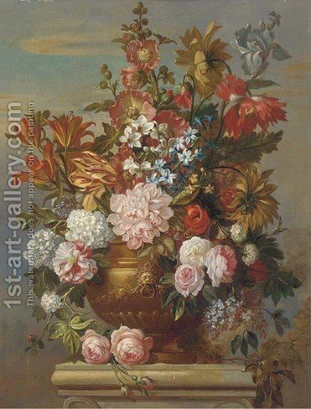 Flowers 2 by (after) Jacob Bogdani - Reproduction Oil Painting