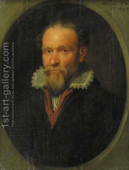Portrait of a bearded gentleman, half length, wearing a red-lined black jacket and lace chemise, in a feigned stone oval window by Jacques de Gheyn - Reproduction Oil Painting