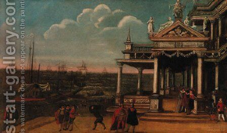 Figures by a loggia on a quay, shipping at anchor beyond by Jacobus Saeys - Reproduction Oil Painting