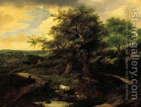 Cattle and sheep watering at a pool in the dunes by Jacob Van Ruisdael - Reproduction Oil Painting