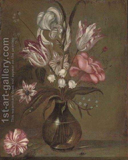 Parrot tulips, a rose, irises and other flowers in a glass vase on a stone ledge by Jacob Marrel - Reproduction Oil Painting