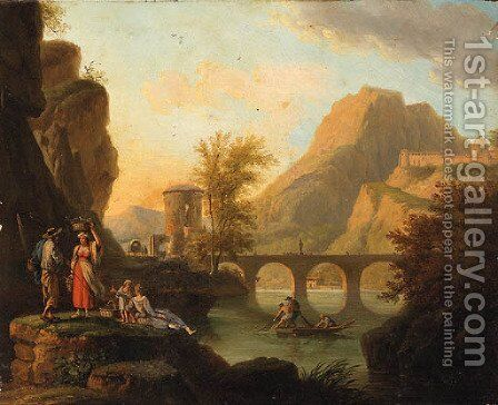 A mountainoius River Landscape with Fisherfolk conversing on a Bank, a Bridge beyond by (after) Jacob Philipp Hackert - Reproduction Oil Painting