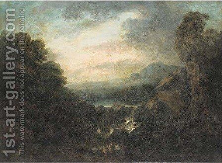 An extensive mountainous landscape with anglers by a waterfall by (after) Jacob Van Ruisdael - Reproduction Oil Painting