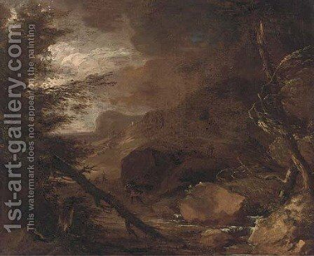 Figures struggling against a storm in a wooded landscape by Jacob Salomonsz. Ruysdael - Reproduction Oil Painting