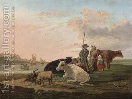 A landscape with a drover, his family and cattle by (after) Jacob Van Stry - Reproduction Oil Painting