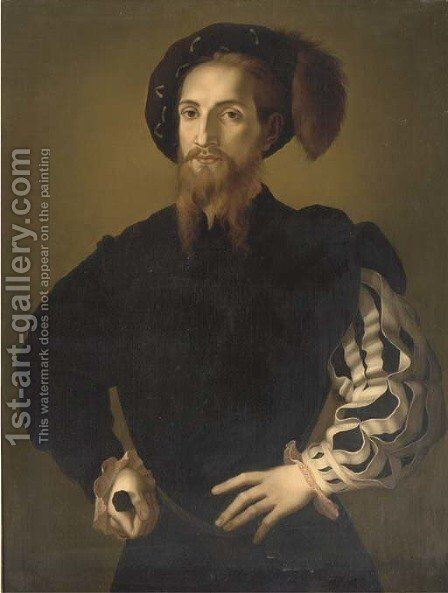 Portrait of a gentleman, half-length, in a plummed hat, a sword in his right hand by (Jacopo Carucci) Pontormo - Reproduction Oil Painting