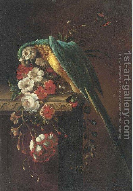 A macaw on a stone ledge, with poppies, flowers and a butterfly to the side by (after) Jacob Bogdani - Reproduction Oil Painting