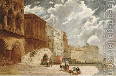 Figures by the Doge's Palace, Venice by (after) James Holland - Reproduction Oil Painting
