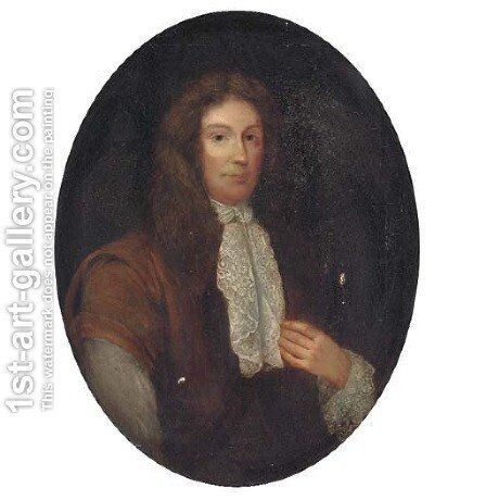 Portrait of a gentleman, bust-length, in a brown cloak and lace cravat, painted oval by (after) James Latham - Reproduction Oil Painting