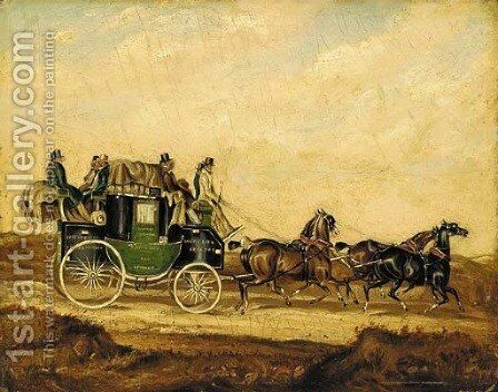 The Bristol and Bath to London Coach by (after) James Pollard - Reproduction Oil Painting