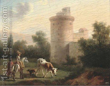 A landscape with a lady on horseback, classical building beyond by (after) Jan Asselyn - Reproduction Oil Painting