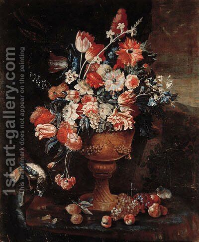Flowers in a gilt urn with a songbird and fruit strewn on the ground in a landscape by Jan-baptist Bosschaert - Reproduction Oil Painting