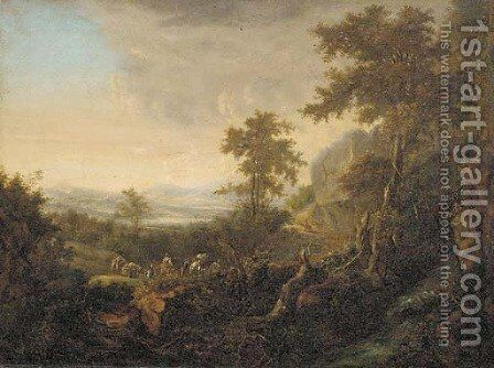 An extensive river landscape with travellers on a hillside path by (after) Jan Both - Reproduction Oil Painting