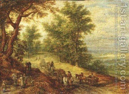 A wooded landscape with travellers on a path 2 by Jan The Elder Brueghel - Reproduction Oil Painting