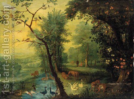 Adam and Eve in the garden of Eden by Jan The Elder Brueghel - Reproduction Oil Painting