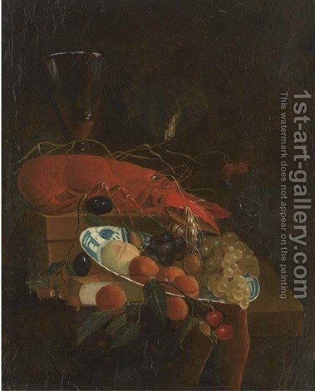 A lobster, a roemer of wine, a book, grapes, cherries, plums and other fruit in a dish on a partly-draped ledge by (after) Jan Davidsz. De Heem - Reproduction Oil Painting