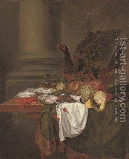 Pheasant pie, grapes, a partly-peeled lemon, oysters on a pewter dish, cherries, shrimp and a langoustine on a partly-draped table by (after) Jan Davidsz. De Heem - Reproduction Oil Painting