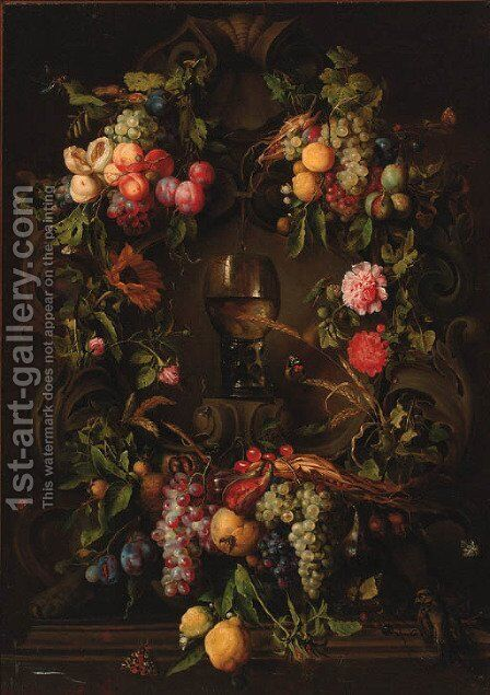 Swags of grapes, peaches, plums and lemons decorating a niche with a roemer, with a sparrow, butterflies, fly, beetles and a dragonfly by (after) Jan Davidsz. De Heem - Reproduction Oil Painting