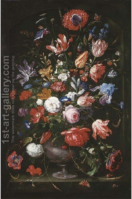 Roses, tulips, marigolds, a geranium and other flowers in a sculpted vase with butterflies, caterpillars, a ladybird, a bee, a snail by (after) Jan Davidsz. De Heem - Reproduction Oil Painting