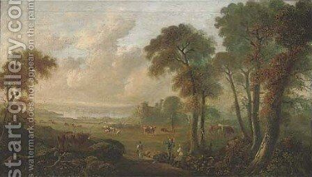 Figures in an Arcadian landscape by (after) Jan Frans Van Orizzonte (see Bloemen) - Reproduction Oil Painting